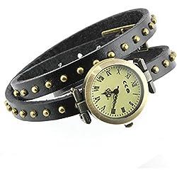 Armbanduhren Quarz Analog Römischen Ziffern Leder Modeschmuck Uhr Damen rund Nägel Mattie Schwarz Geschenk Unisex