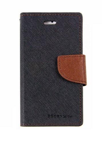 Cubezap Mercury Goospery Fancy Diary Card Wallet Flip Case Back Cover for Samsung Galaxy Grand 2 II - Brown Black