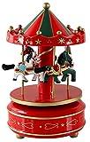 HorBous, carillon a carica, giostra di legno, con musica, idea regalo, decorazione in 6colori Red