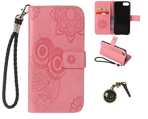 Preisvergleich Produktbild iphone7 (4.7 Zoll) Wallet Case für Apple iPhone 7 Flip Hülle Laoke Eule Blumen Muster Handyhülle Schutzhülle PU Leder Case Skin Brieftasche Ledertasche Tasche im Bookstyle in +Staubstecker (7)