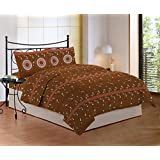 Bombay Dyeing Cynthia 120 TC Polycotton Double Bedsheet with 2 Pillow Covers - Brown