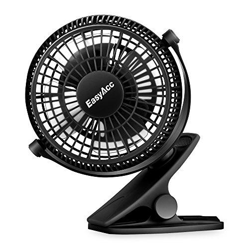 EasyAcc Clip Schreibtisch Ventilator Mini Lüfter USB Tischventilator Tragbarer Ventilatoren 720° Drehung für Haus Büro Schlafzimmer und Mehr - Schwarz