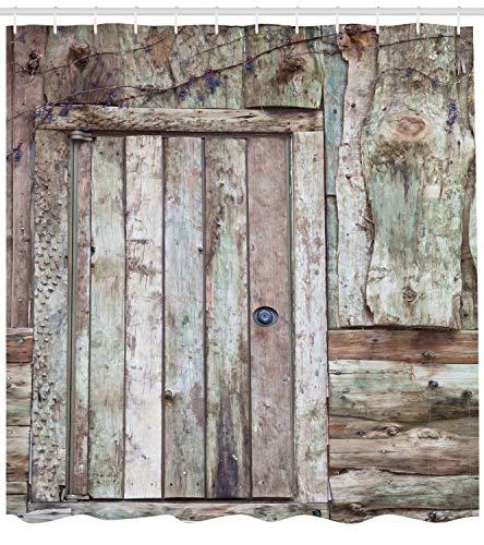 Rustikaler Duschvorhang Alte Rustikale Scheunentür Cottage Country Cabin Thema Ländliche Mystic Eingang des Heimgewebes Badezimmer Dekor Set mit Taupe Kakao - Kakao-winkel