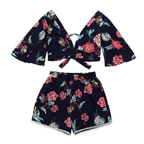Damen Bademode -LuckyGirls Two-piece Beachwear Damen Sommer Botanischer Druck V-Ausschnitt Blütenblatt Ärmel Sommer Top +Shorts (Marine1, S)