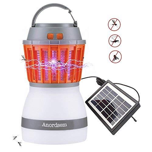 Anti Mosquitoes Camping LED Camping Laterne wiederaufladbare Lampe mit Bug-Zapper-Funktion USB-Aufladung und Solar-Aufladung für Camping im Freien, Moskito-Kontrolle