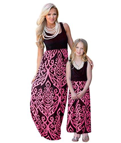 und Tochter Familie Sommerkleid Rundhals Ärmellose Kleider MaxiKleid A Linie Strandkleid (#4 Rose, 7-8T) (Maxi-kleid Für Kleine Mädchen)