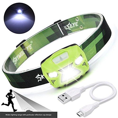 Stirnlampen ,COLORFUL_ 3000Lumen XPE LED IR Sensor Scheinwerfer USB Wiederaufladbare Camping Wandern Scheinwerfer ,LED Outdoor Sports Head Light (Grün) Outdoor-grüne Led Leuchtet