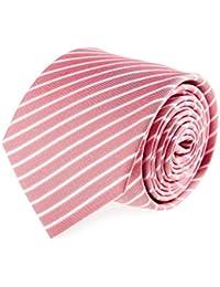 OTTO KERN Krawatte Seide Klassisch Seidenkrawatte Rosa Weiss Gestreift 7 cm