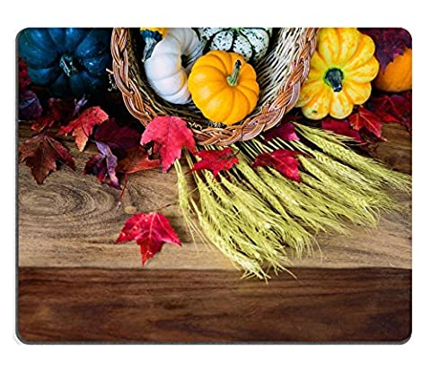 MSD Natural Rubber Gaming Mousepad IMAGE ID 31157863 A cornucopia with squash gourds pumpkins wheat and leaves on an old antique harvest table Room for copy space