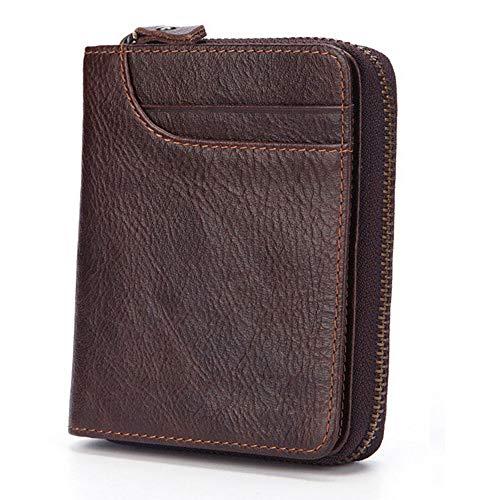 GAOPENG Bi-Fold-Clutch für Herren, Reißverschluss-Portemonnaie mit hoher Kapazität/schwarz und braun zur Auswahl,Brown -