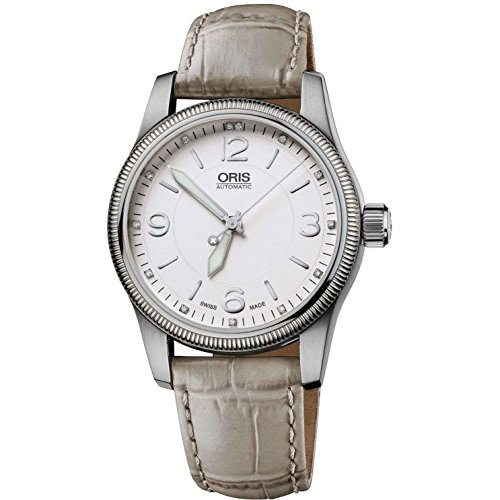 Oris Women's 38mm Grey Leather Band Steel Case Automatic Silver-Tone Dial Analog Watch 73376494031LS