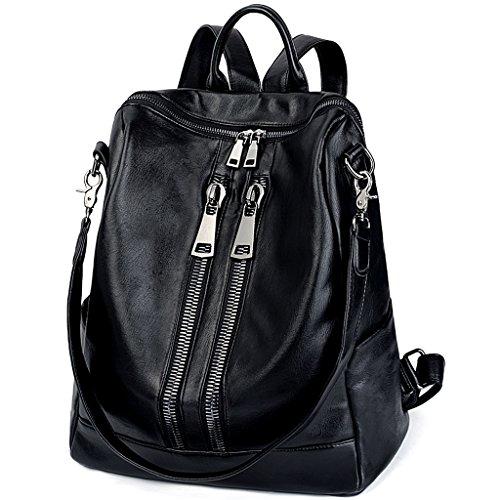 Uto donna zaino grandi dimensioni borsa a spalla in pelle sintetica lavato pu chiusura a doppia cerniera anteriore nero
