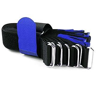 10 x Klettkabelbinder Metallöse - Klett/Flausch auf GLEICHER SEITE! - 40 cm blau/Kabelmanagement für Gewerbe, Büro, Schreibtisch, Hobby