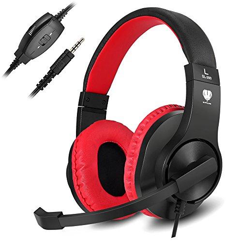Gaming Headset, ohraufliegende Kopfhörer für PS4PC Xbox One Laptop Mac Geräuschunterdrückung Wired Gamer über Ohr Headset mit Mikrofon rot rot