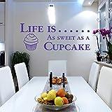 Vida es tan dulce como un cupcake sala de arte de pared vinilo adhesivo cita Cocina