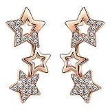 Unendlich U Elegant Sterne Sternchen Ohrstecker 925 Sterling Silber Zirkonia Damen Ohrringe Ohrschmuck, Rosegold