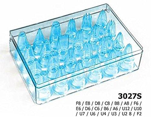 Moule à Embouts en Silicone en boîte de Rangement, Bleu, 18 x 12 x 7 cm, Lot de 24