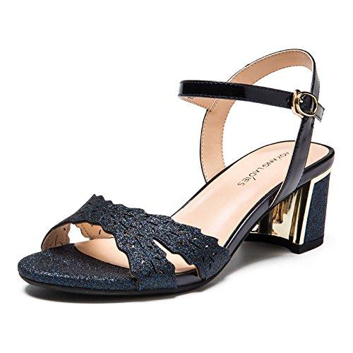 Di Shoeshaoge Girl Dimensioni Eleganti Donna Vuoto Estate Fashion Scarpe Paillettes Sandali Tacco Solido Grandi Di Laterali Colore Perdere Da Toe 57qqKBv