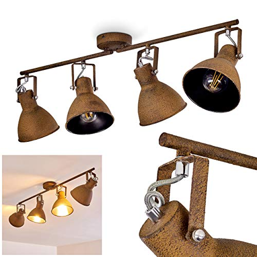 Deckenleuchte Lisele, verstellbare Deckenlampe aus Metall in Rost, 4-flammig, Lampenschirme dreh- u. schwenkbar, 4 x E27-Fassung, max. 60 Watt, Spot im Retro-Design, LED Leuchtmittel geeignet -