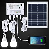 SUAOKI Solarleuchte Außen LED 4.5 W Faltbar Panel Solar Home System Kit inkl. Handy Ladegerät, 2 LED Lampen
