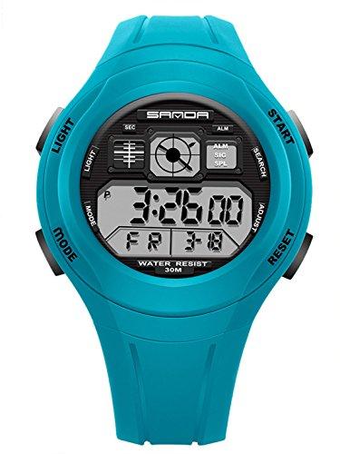 SANDA - Reloj Digital LED Resistente Agua Infantil
