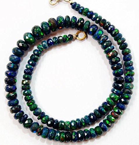 Natural Gem Stein Schwarz Äthiopische Opal facettierten Perlen Komplett Halskette Top Qualität Rainbow Fire blinkende 40,6cm 4bis 8mm (Rainbow Jewel Halskette)