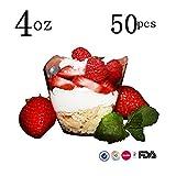 Mini-Dessertbecher, quadratische Kunststoffschale, Fassungsvermögen ca. 118 ml, elegantes Design, Einweg, Satz mit 50 Stück