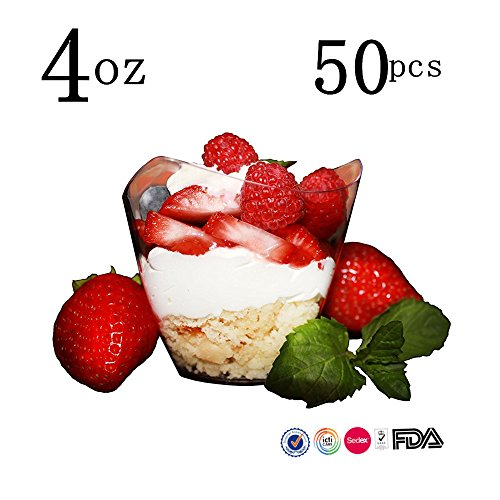 Mini Dessert Cups, 50 Pcs/set Dessert Cups Mini Cubes Clear Tasting / 4 oz Sample Glass Containers Elegant Square Plastic Bowls Disposable 51EbPxcp8GL