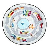 Jeteven Baby Krabbeldecke F150cm Matt Kinderzimmer Kinderteppich für Baby Spielwiese groß und weich gepolstert mit AU Aufbewahrungsbeutel, Muster: Verkehr