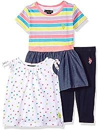 758cb14ee67ca6 U.S. Polo Assn. Baby Girls Knit Fashion Top and Legging Set Elastic Waist  Dress Shoulder Tie Tunic Solid Legging Neon…