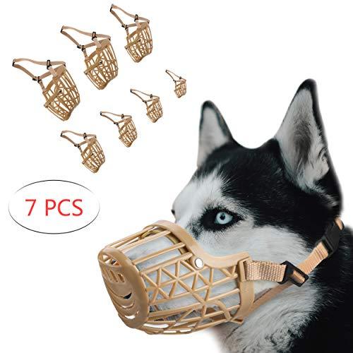 RockPet Baskerville Maulkorb für Hunde 1 Set mit 7 Stück Verstellbarer aus für Kleine Mittlere große schäferhunde,Plastik Verhindert Beißen Kauen und Bellen