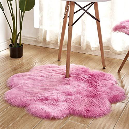 Yolmook Teppich, für Wohndekoration, Accessoires, rutschfest, weich, flauschig, hot pink, 90 x 90 cm - 14' Vinyl