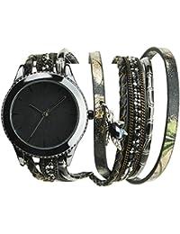 Bellos Damen-Armbanduhr soldes Valentinstag Schwarz Quartz Gehäuse Stahl Armband Kunstleder Doppel Tour schwarz