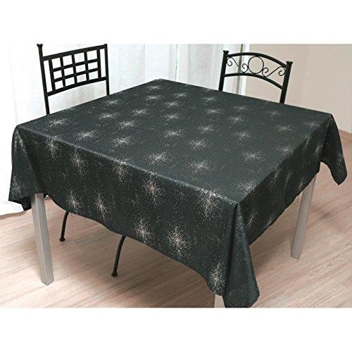 Soleil d'ocre 814698 Strass Nappe Carrée Polyester Noir 180 x 180 cm