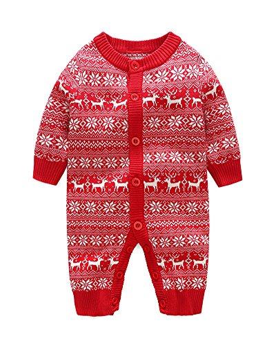 Unisex Neugeborenes Baby Strick Strampler Lange Ärmel Warme Pullover Overall Für Weihnachten Rot 66 (Kinder Sachen Für Stricken)