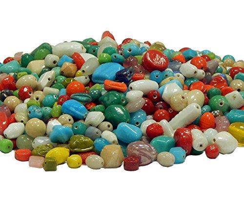 500g Glasperlen Mix Vintageparts Opak Glas und Keramik Kinder Perlen Zum Fädeln Lampwork Rund Oval Würfel 4mm bis 20mm Bunte Perlenset Bastelset zur Schmuckherstellung von Halsketten Armband (500)