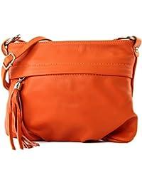 modamoda - ital. Ledertasche Umhängetasche Handtasche Klein Damentasche Nappaleder T32