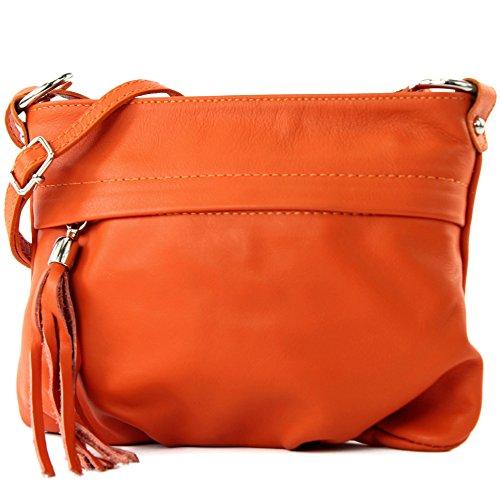 modamoda - ital. Ledertasche Umhängetasche Handtasche Klein Damentasche Nappaleder T32, Präzise Farbe:Orange1 (Orange Stoff-handtaschen)