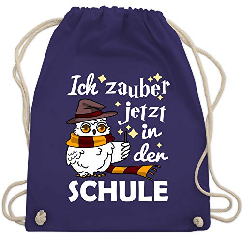 Einschulung und Schulanfang - Ich zauber jetzt in der Schule Eule mit Zauberstab - weiß - Unisize - Lila - WM110 - Turnbeutel & Gym Bag