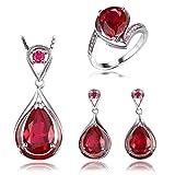 JewelryPalace Magnifique Bague Boucles d'Oreilles Collier 45cm Pendentif Ensemble en ...
