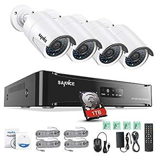 Sannce Überwachungssystem Videoüberwachung PoE 1080P HD 4CH NVR mit 4 x 1080P IP Überwachungskameras Nachtsicht bis zu 30 Meter mit 1TB Festplatte