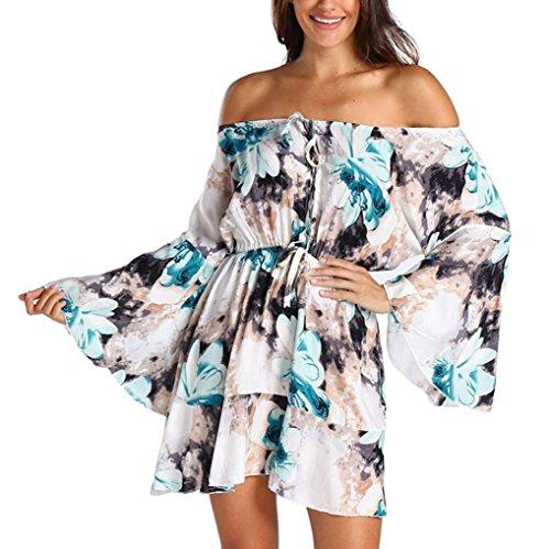 Damen Kleider,Kanpola Frauen Jumpsuit Shirt Blusen Schulterfrei Abendkleid Minikleid Lange Ärmel Partykleid Freizeitkleid Cocktailkleid Blumen Kleid