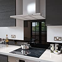 Premier Range - Black Toughened Glass Splashback - 80cm Wide x 75cm High