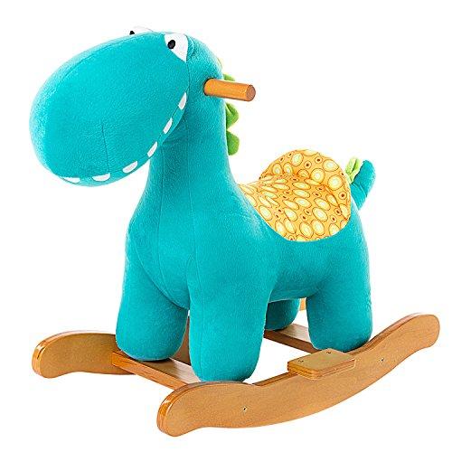 Labebe Cheval à Bascule Enfant, Blue Dinosaur Jeu à Bascule Bois pour...