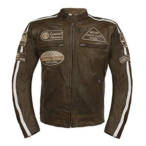 Leder24h Herren Motorrad Lederjacke mit Protektoren Taschen 2075 (L)