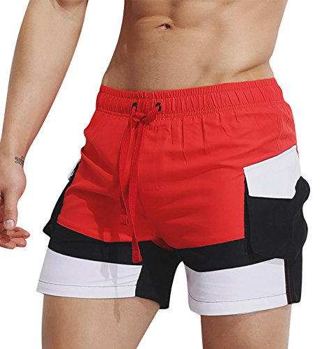 Lecoon pantaloni da bagno uomo vita bassa elastica con caulisse pantaloncini taschino calzoncini casual mare spiaggia piscina pants