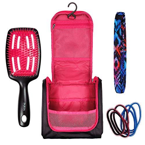 Praktisches Sport-Kulturtasche Set In Schwarz Pink zum Aufhängen mit Bürste, Haar-Band,...