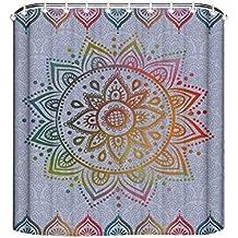 misshows Mandala cortina de ducha cortinas de ducha de tela de poliéster resistente al agua para