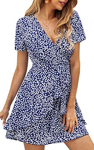 Spec4Y Damen Kleider V Ausschnitt Punkte Sommerkleid Rüschen Kurzarm Minikleid Strandkleid mit Gürtel Blau XL