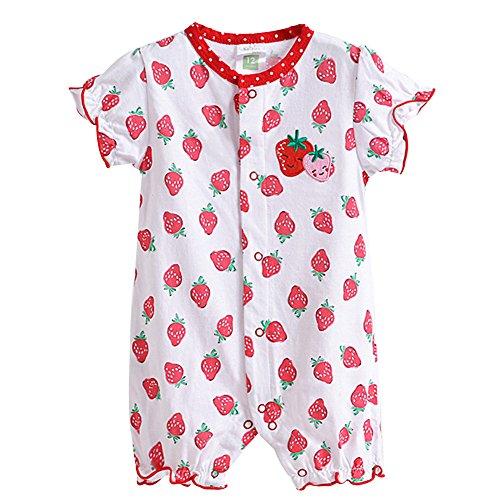 M&A Baby Mädchen/ Jungen Strampler Overall Spieler mit Kurzarm, Rot auf Weiß (Erdbeere), Gr. 74/80 (Herstellergröße: 18)
